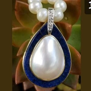 Jewelry - 14k Gold Lapis Pearl Diamond Pendant Pearl Necklac